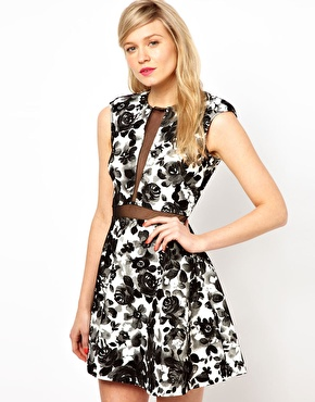 Love | Love Plunge Dress In Floral Print With Mesh Insert at ASOS