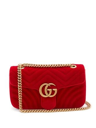 cross quilted bag velvet red