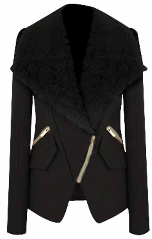 Black Long Sleeve Fur Lapel Oblique Zip Coat - Sheinside.com