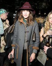 hat,indie,alexa chung,hipster,burgundy,wool hat,felt hat,fedora