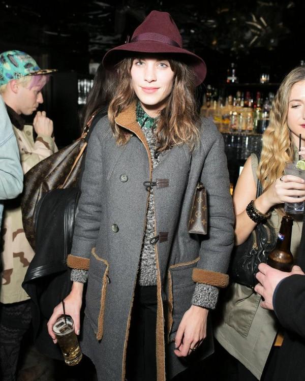 hat indie alexa chung hipster burgundy wool hat felt hat fedora