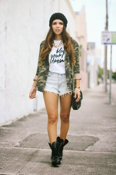 gray shorts shorts high waisted denim shorts t-shirt shoes nany's klozet jacket hat jewels bag