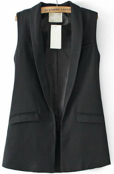 Black Lapel Sleeveless Pockets Vest - Sheinside.com