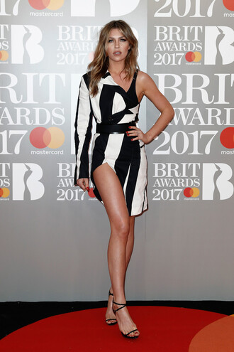 dress asymmetrical asymmetrical dress black and white black and white dress sandals mollie king abbey clancey brit awards