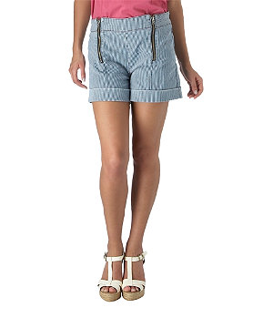 High rise ticking stripe shorts