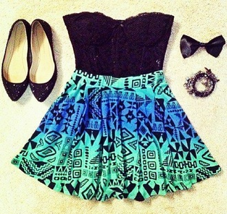 tank top blue skirt skirt aztec aqua blue