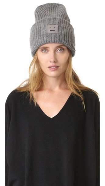 feb891692fbfb Acne Studios Pansy Wool Hat - Dark Grey Melange - Wheretoget