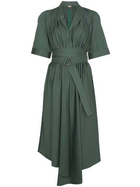 Adam Lippes dress midi dress women midi cotton green