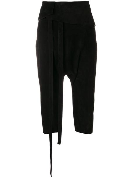 cropped women leather black silk pants