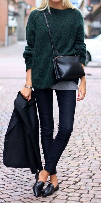 black pointy shoes shoes sweater green dark green green sweater dark green sweater fall outfits fall sweater