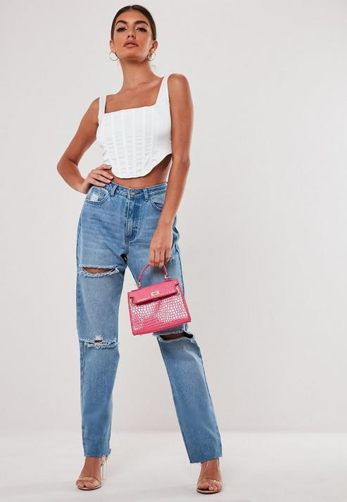 Stassie X Missguided White Satin Corset Top