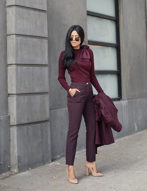 top tumblr burgundy sweater pants high heels heels pumps nude heels sunglasses