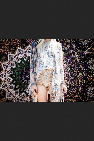 shorts rope tie tie dye boho hippie high waisted shorts sweater