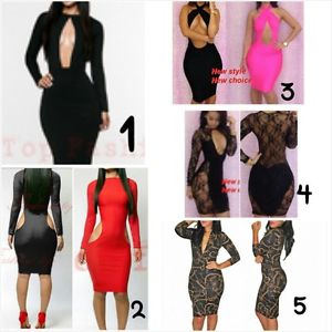 Sexy Bodycon Dress 6 Styles Sizes Small Medium Large 5 Colors | eBay