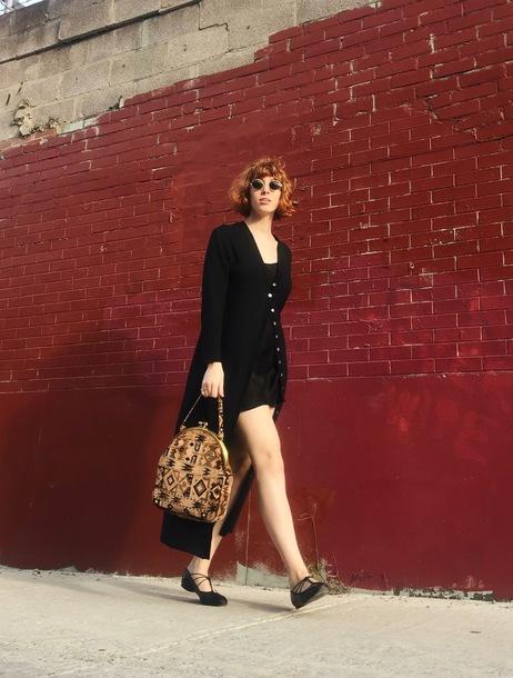 de lune blogger cardigan dress bag sunglasses fall outfits flats black dress black cardigan long cardigan
