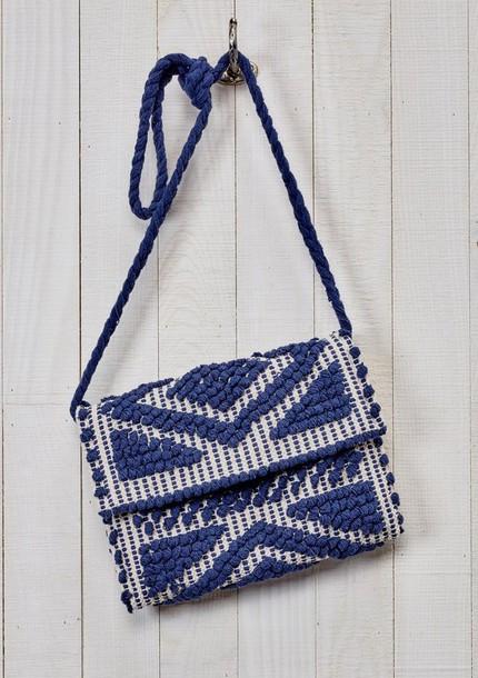 db9ebf779c70 bag blue cross body carpet bag navy casual casual bag clutch braided strap  tablet case boho