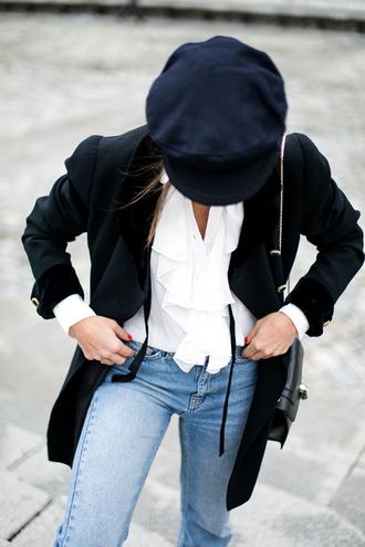shirt tumblr bvlgari white shirt ruffle ruffle shirt black bag denim jeans blue jeans black blazer blazer hat fisherman cap black hat