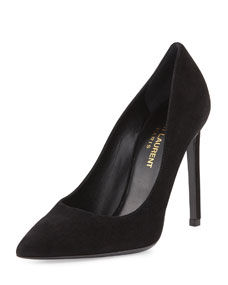 Paris Suede Pointed-Toe Pump, Black