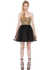 Embellished techno tulle dress