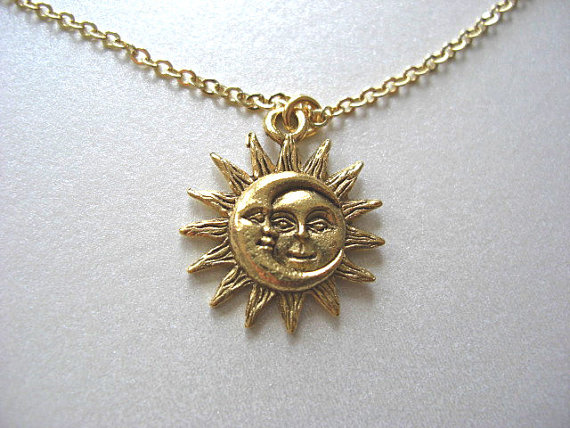 Gold Sun and Moon Pewter Charm Celestial Necklace by JaspersDream