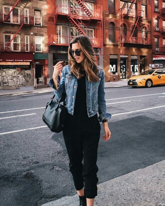 pants tumblr black pants cropped pants top black top denim jacket jacket blue jacket bag black bag sunglasses aviator sunglasses