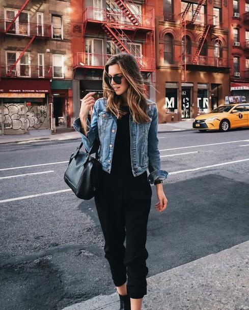 a5f04f3477dd pants tumblr black pants cropped pants top black top denim jacket jacket  blue jacket bag black