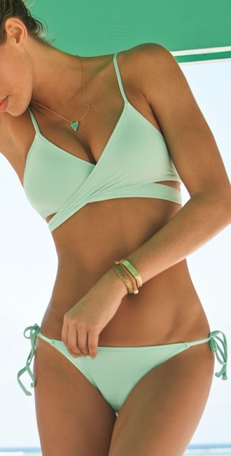 swimwear swimwea bikini summer blue bikini