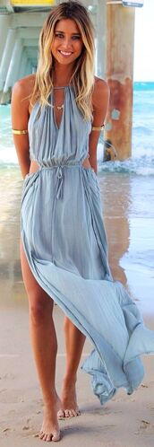 dress,grey maxi cutout beach,beach,beach dress,summer dress,cut-out dress,maxi dress,long dress,blue,blue dress,light blue,light blue dress,cover up,jewels,gold arm bands,hippie,ocean dress,style,blue cut out maxi dress,summer,fashion,elegant,maxi,boho,flowy