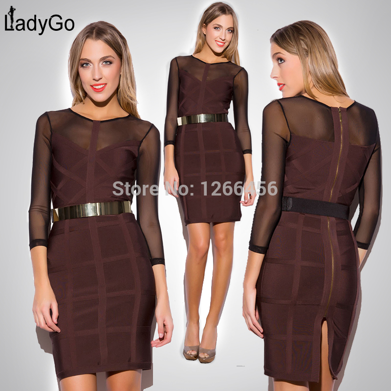 Aliexpress.com : Buy LADY GO 2014 Hot Selling Winter Coffee Mesh Splice Plaid Three Quarter Sleeve Robe Bandage Party Dress Knee Length H704 from Reliable dress fall suppliers on Lady Go Fashion Shop