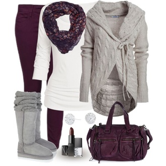 jeans winter outfits cardigan blouse jacket sweater brown grey white shirt white shirt grey boots scarf red burgundy fall outfits warm bag purse lipstick earrings studs warm boots winter boots soft ugg boots