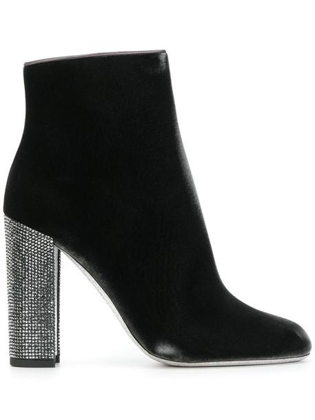 René Caovilla heel high heel high women heel boots leather velvet grey shoes