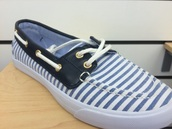 shoes,blue and white stripe