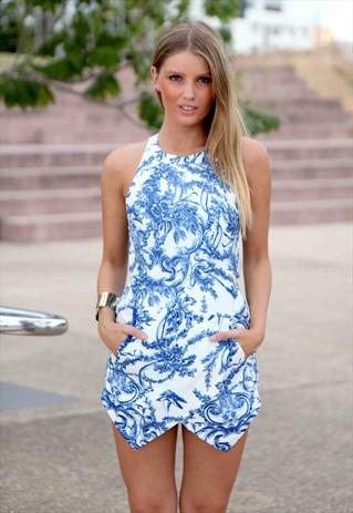 Blue/White print chloe playsuit high neck asymmetrical hem l | Xenia Boutique | ASOS Marketplace