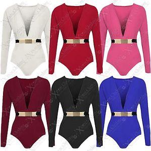 Ladies Plunge V Front Buckle Bodysuit Top Women Bodycon Long Sleeve Body Leotard   eBay