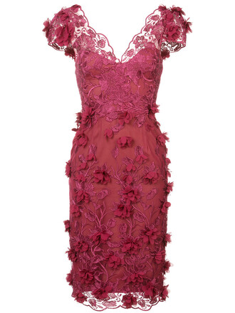 dress lace dress embroidered women lace silk red