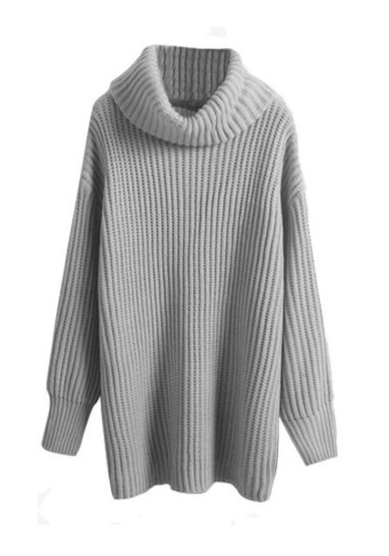sweater grey cowl neck ribbed sweater
