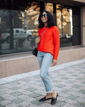 jeans sweater red sweater shoes flats mules sunglasses denim blue jeans frayed denim