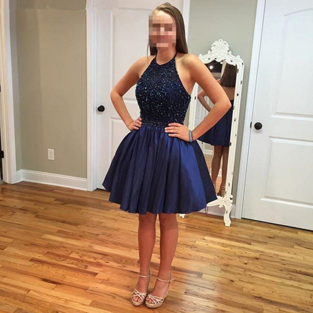 Dress: homecoming dress, navy blue homecoming dresses, cheap ...
