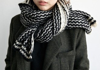scarf black and white black and white scarf cute pretty grunge vintage knitted knitted scarf