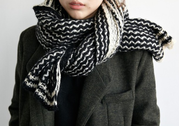 scarf black and white black and white scarf cute pretty grunge vintage knitwear knitted scarf