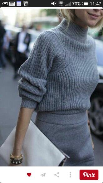sweater grey gray knitwear knitted sweater skirt clutch