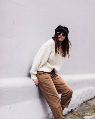 sweater tumblr white sweater oversized sweater oversized pants khaki pants cropped pants sunglasses hat fisherman cap