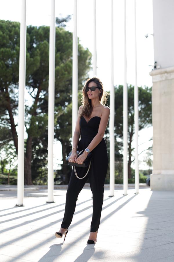 lady addict blogger jumpsuit bag shoes