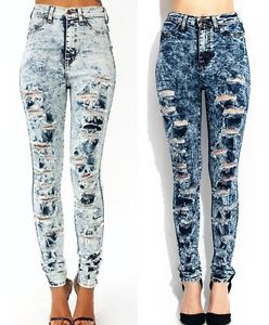 waist acid wash heavy distressed ripped cut back detailed skinny ...