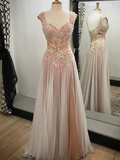 V-neck Tulle Appliques Lace Cap Straps A-line Formal Dress - formaldressaustralia.com