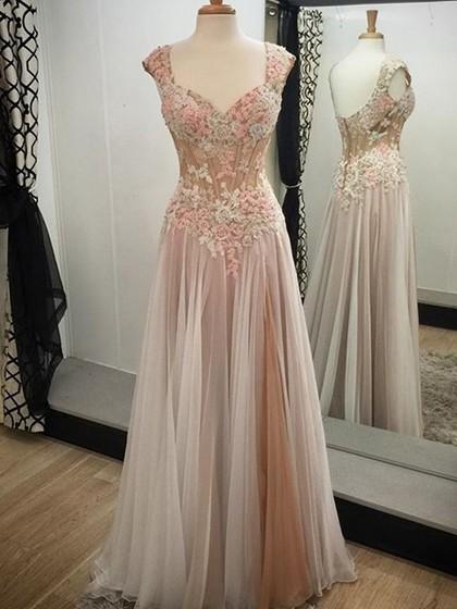 V-neck Tulle Appliques Lace Cap Straps A-line Formal Dress - formaldressaustralia.com