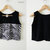 100 % Baumwolle schwarz ärmelloses Unterhemd, Crop Top, Bluse, Indie, zwei-Ton mit Zebra Drucke Schichten an Front, Black Zebra Tier Drucke-