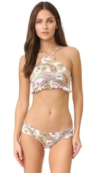 bikini bikini top high neck bikini high ruffle high neck paisley swimwear