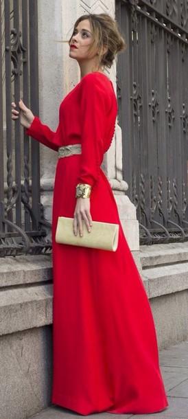 dress red long sleeves long sleeve dress gold sequins maxi dress long prom dress long dress