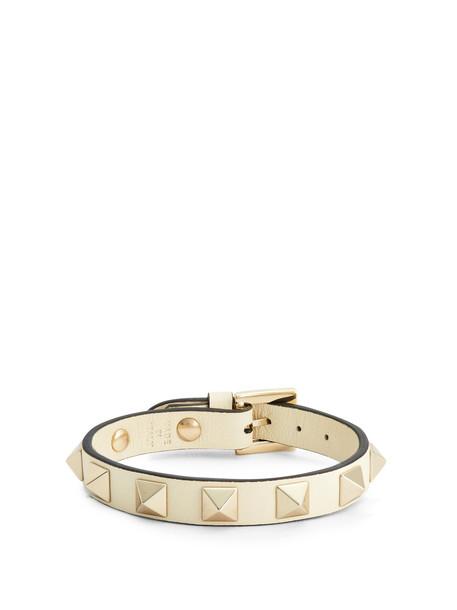 VALENTINO Rockstud leather bracelet in ivory